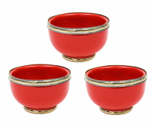 "Moroccan Ceramic Bowls Triple Pack with Silver Edge Handmade in Morocco. 8 cm / 3"" (Red)"